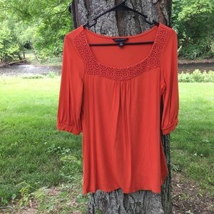 NWOT Banana Republic Orange Crochet Shirt